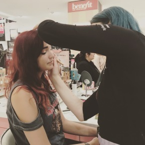 Laura doing her Benefit Magic on my face